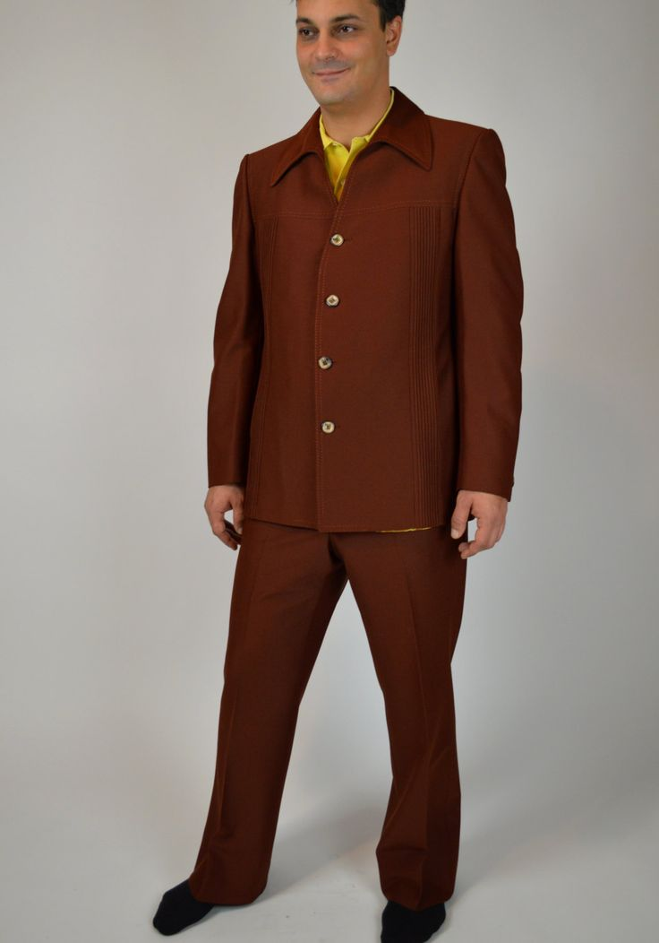 Vintage Leisure Suit, Disco Suit, Brown Leasure Suit, Rockabilly Mens Suit, Men's Disco Clothes, Westerm Suit, Urban Cowboy Suit, 70's Suit by BuffaloGalVintage on Etsy