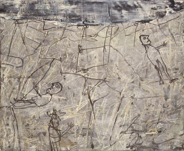 Jean Dubuffet (1901-1985), Perdeurs de temps, huile sur toile signée et contresignée, titrée et datée octobre 1955, 60 x 73 cm. Estimation : 600 000/700 000 € Dimanche 9 juillet, Versailles.  Versailles Enchères OVV.