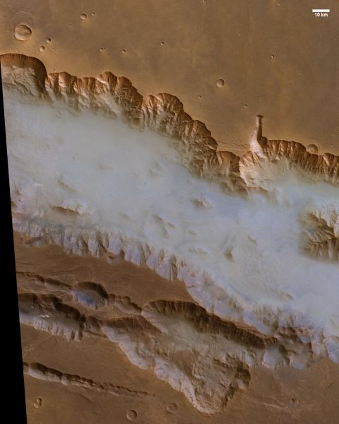 Fog in Valles Marineris the western region of Valles Marineris, taken by the HRSC (High Resolution Stereo Camera for) the European probe Mars Express