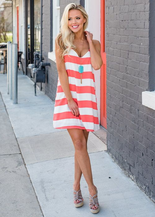Coral Striped Tank Dress, Online Boutique, Online Shopping