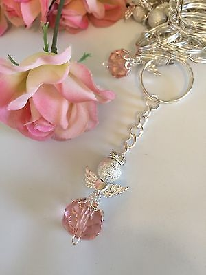 20 Pink Angel With Wings Keychain Rosary Baptism Communion Wedding Favors