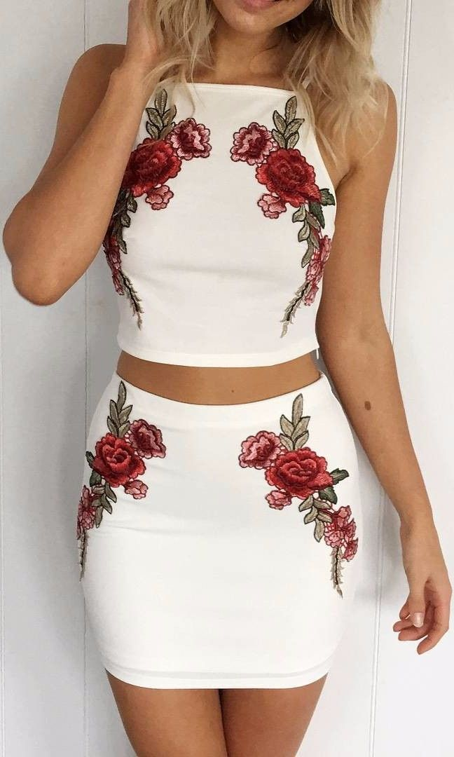 embroidered accents: white two-piece