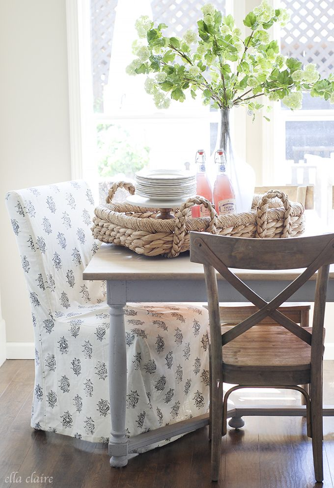 Ella Claire Inspired love the light wood and light gray table