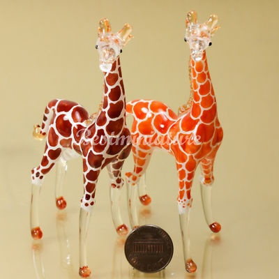 2 Giraffes Hand Blown Glass Animal Miniature Gift Decor Hand Painted | eBay