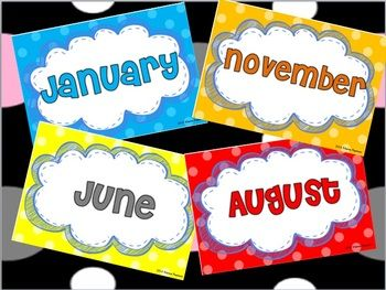 Polka Dots and Cloud Month by Month Labels for Back-to-School