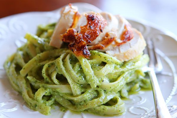 This is the perfect, decadent pasta with creamy, dreamy, pesto cream sauce.