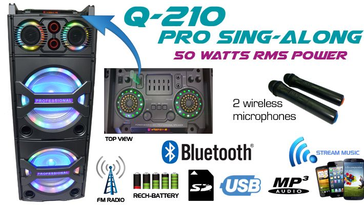 Q-210 Powered Speaker with 2 Wireless Microphones and Fun LED Party Lights