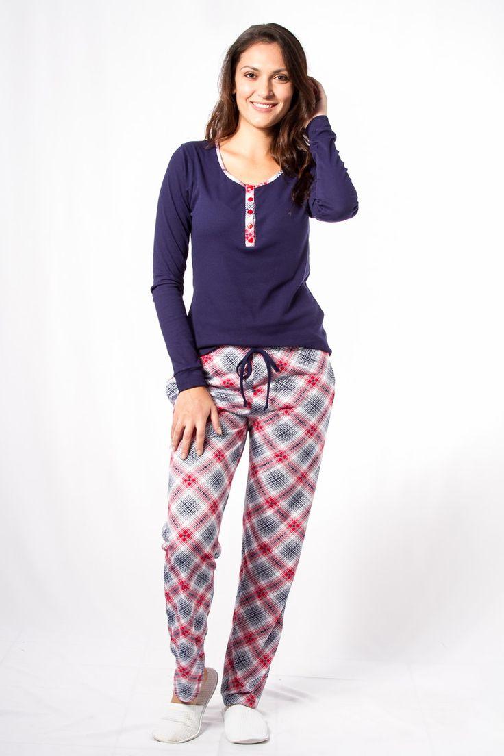 Pijama Canelado Xadrez Amamentação