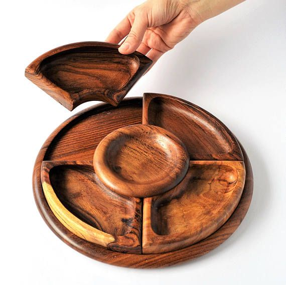 Rosewood Snack Tray Wood Snack platter dip Scandinavian