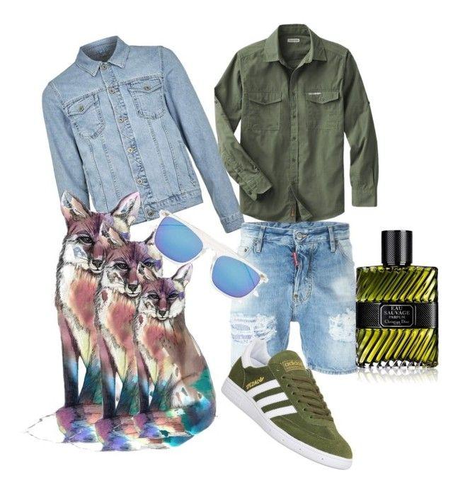 """Wild Men"" by renicherie on Polyvore featuring Topman, Dsquared2, adidas, Christian Dior, men's fashion e menswear"