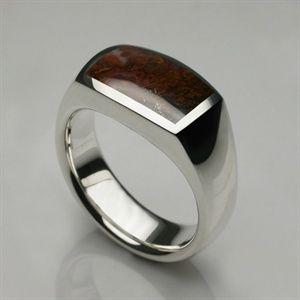 Mens Rings - Silver & Agate Signet Oxford Ring - Mens Designer Jewellery by Stephen Einhorn London