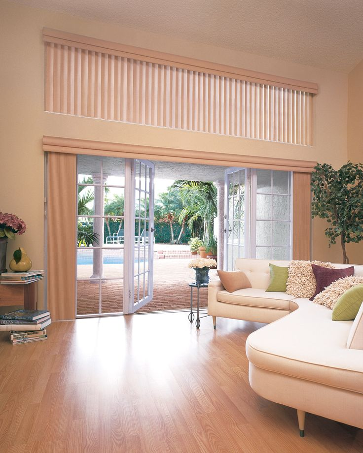 vertical blinds over double doors to patio window blinds