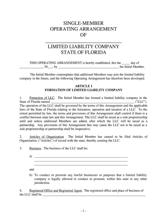 Browse Our Sample Of Single Member Llc Operating Agreement Template Limited Liability Company Agreement Best Templates