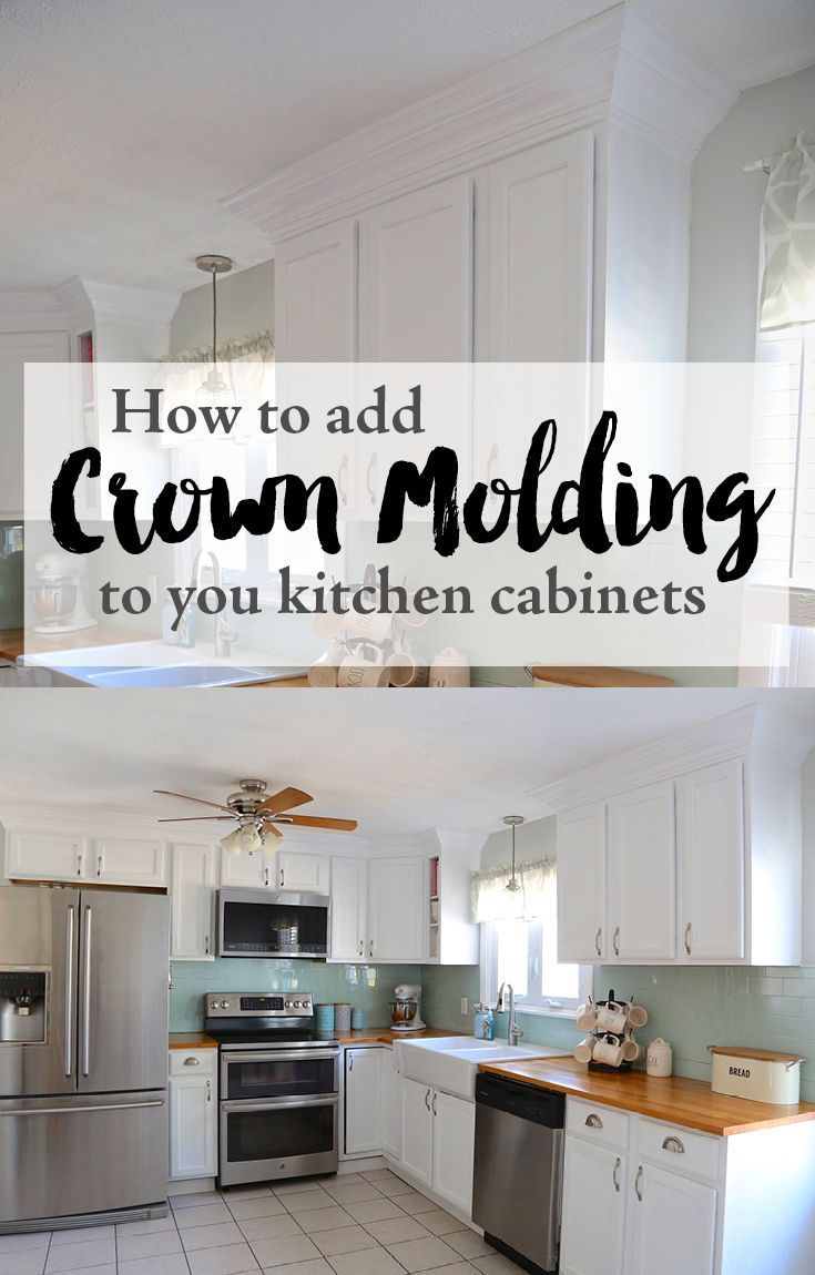 Adding Crown Molding To Your Kitchen Cabinets Weekend Craft In 2020 Crown Moulding Kitchen Cabinets Kitchen Cabinet Crown Molding Budget Kitchen Remodel