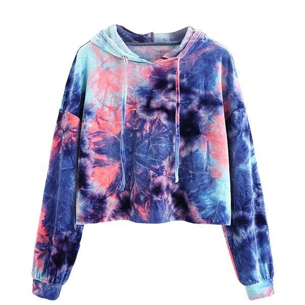 Romwe Women's Velvet Drawstring Long Sleeve Hoodie Crop Top Sweatshirt ($15) ❤ liked on Polyvore featuring tops, hoodies, sweatshirts, cropped tops, blue sweatshirt, blue cropped hoodie, hooded sweatshirt and long sleeve crop top
