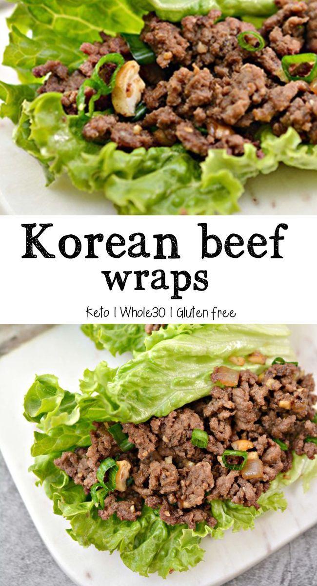Korean Beef Lettuce Wraps Keto Whole30 Gluten Free In 2020 Beef Lettuce Wraps Lettuce Wrap Recipes Lettuce Wraps Healthy