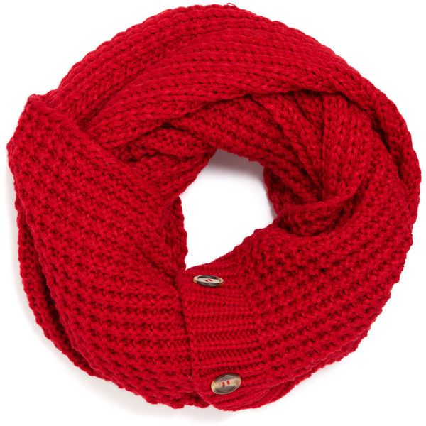 Accessorize Waffle Button Snood (280 UYU) ❤ liked on Polyvore featuring accessories, scarves, red, red shawl, snood scarves, red scarves, accessorize scarves and chunky scarves