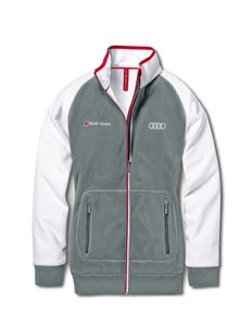 Women's Audi Sport fl eece jacket Colour: light grey/white.    Available from: http://www.m25audi.co.uk