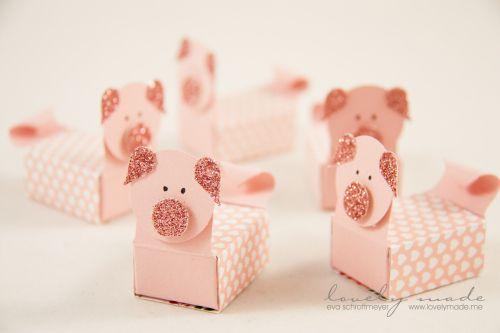 Glücksschweinchenbox aus zündholzschachtel