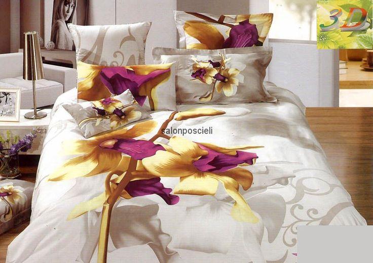 Pościel 3D, kolorystyka: biały, fiolet