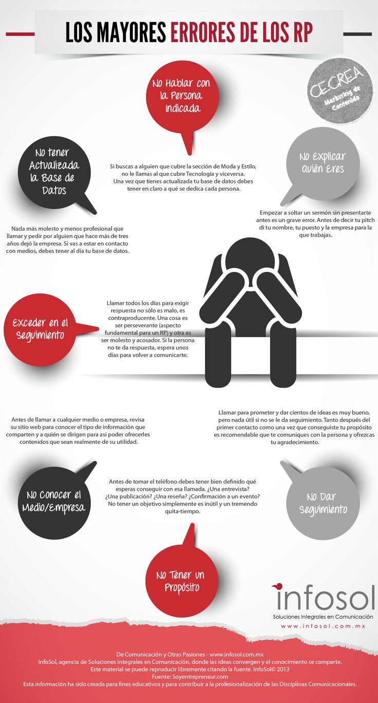 Los mayores errores de los relaciones Públicas #infografia #infographic #marketing
