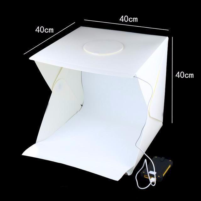 20cm Include 2 LED Panels Folding Portable 1100LM Light Photo Lighting Studio Shooting Tent Box Kit with 6 Colors Backdrops Unfold Size: 24cm x 23cm x 22cm Du Black, White, Orange, Red, Green, Blue