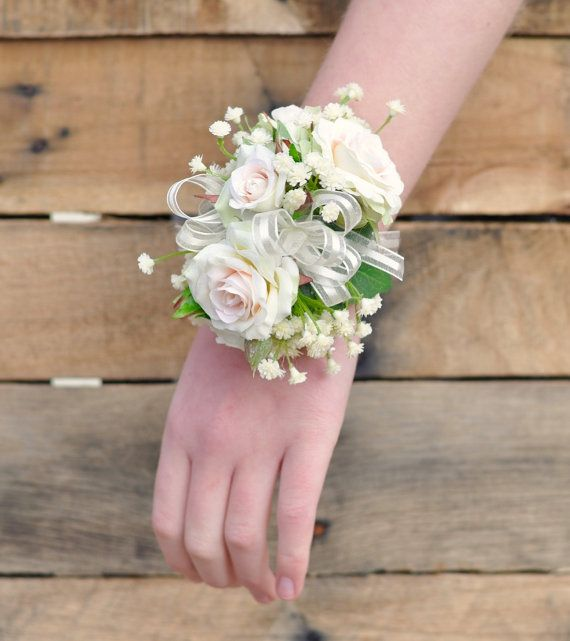 Wedding Corsage Prom Corsage Peach Rose by Hollysflowershoppe