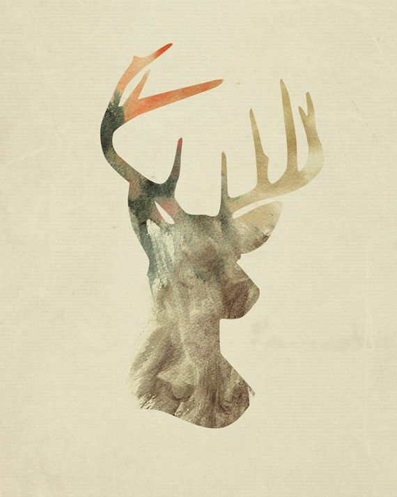"""Original Digital Illustration - The Deer Silhouette    Each Digital print is a 8"""" x 10"""" printed professionally on Fujicolor Crystal Archive paper with a matte finish. It is shipped flat in a clear protective sleeve inside of a cardboard envelope. (Frame and white matting not included)    Please n..."""