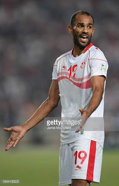 Saber Khelifa of Tunisia in action during the FIFA 2014 World Cup qualifier at the Stade Olympique de Radès on October 13 2013 in Rades Tunisia