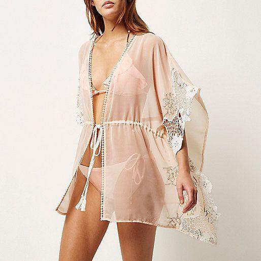 Kimono rose clair transparent orné - Caftans/tenues de plage - Maillots de bain/plage - femme