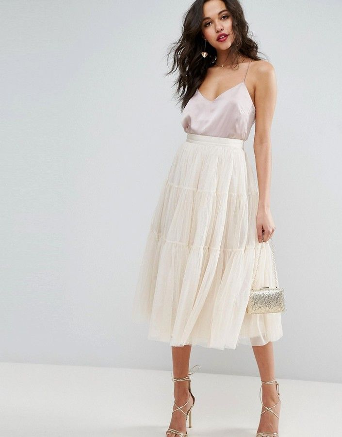 ASOS Tiered Tulle Prom Skirt with High Waisted Detail