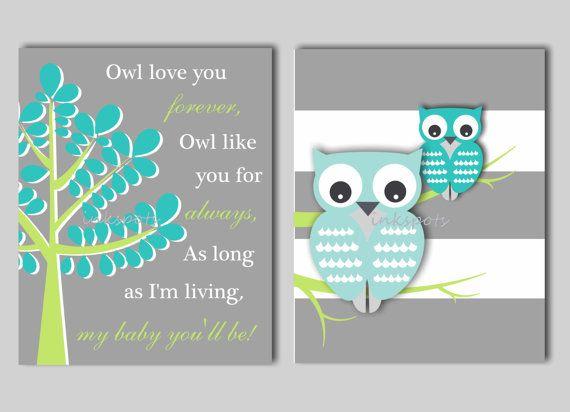 Baby Boy Nursery Art  Owl Nursery Print Kids Owl Wall Art Owl Love You Forever Baby Owl Nursery Decor - CHOOSE COLORS - 2 8 x 10 Prints on Etsy, $28.00