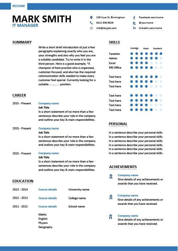 IT manager CV sample, managerial resume, team leader, career history