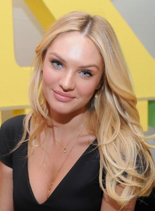 Candice Swanepoel Sexy Long Blonde Center Part Hairstyle
