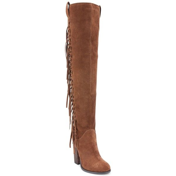 Carlos by Carlos Santana Garrett Knee-High Fringe Boots (€130) ❤ liked on Polyvore featuring shoes, boots, mustang, fringe boots, knee length boots, carlos by carlos santana boots, knee-high fringe boots and carlos by carlos santana