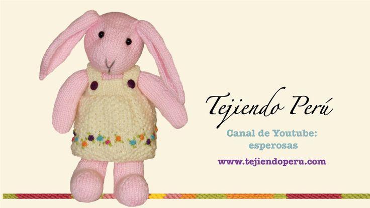 Conejos tejidos en dos agujas o palillos: vestido de la coneja adornado ...