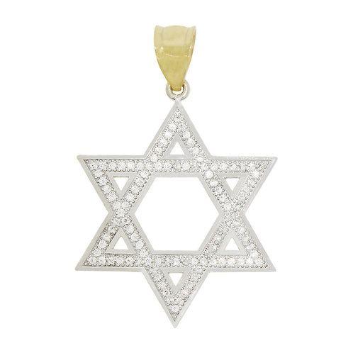 14k Yellow Gold White Rhodium, Star of David Pendant Charm Created CZ Crystals (P011-034)