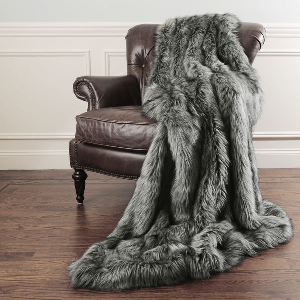 $102=Aurora Home Faux Fur Throw Blankets by Wild Mannered - with Faux Fur Key Chain 58 inches wide x 84 inches long