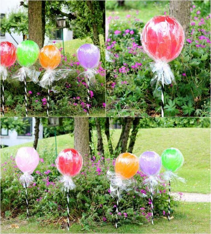 Gartenstecker wie Lutscher aus Luftballons