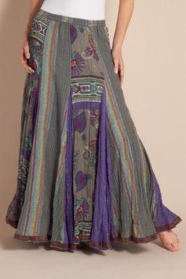 Purple Haze Skirt - Crinkled Skirt, Full Elastic Waist, Fully Lined Skirt | Soft Surroundings