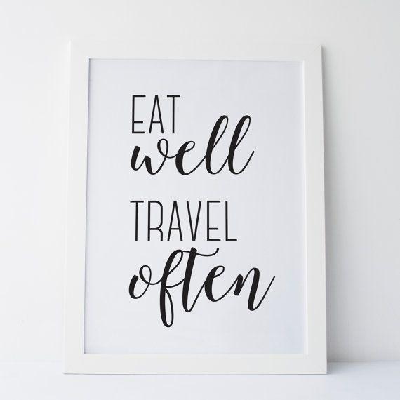 Printable Art Eat Well Travel Often Black and by elemenopeedesign