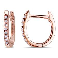 rose gold diamond huggie, rose gold diamond hoops, work-appropriate diamond earrings, huggie earrings for work