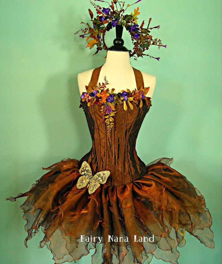 Copper Woodland Faerie - adult corset top fairy costume bust size 36 - 40. $475.00, via Etsy.