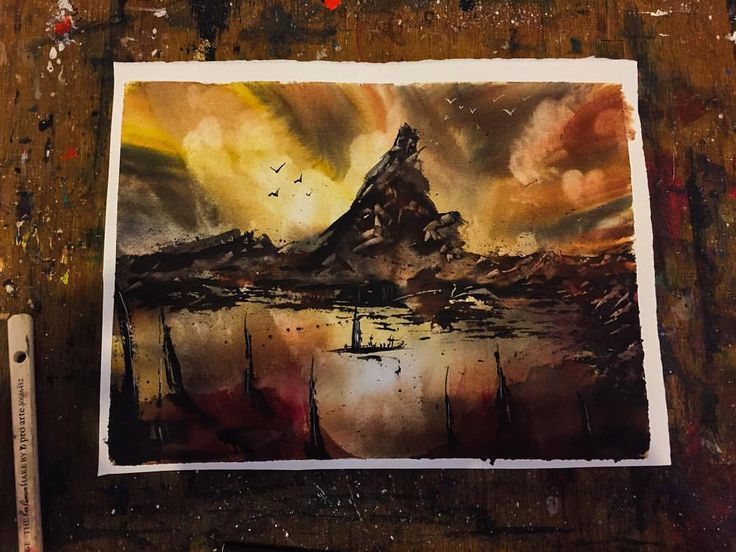 Warships Coast #mountains #dramatic #abstract #beautiful #watercolor #painting #art #artwork #instagood #artist #watercolorart #watercolourart #style #artoftheday #inspiring_watercolors #pretty #boat #coast #Sunset #dream #creativity #cloudy #inspiration #view #scenery