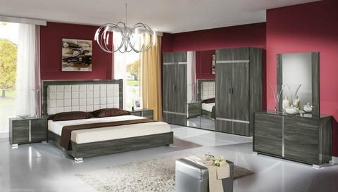 Italian High Gloss White or Grey Premium Quality Complete Bedroom Sets Made in…