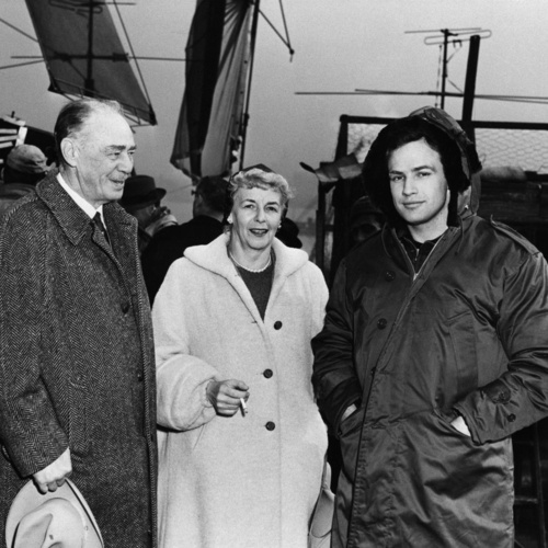 Brando with his parents on the set of On The Waterfront