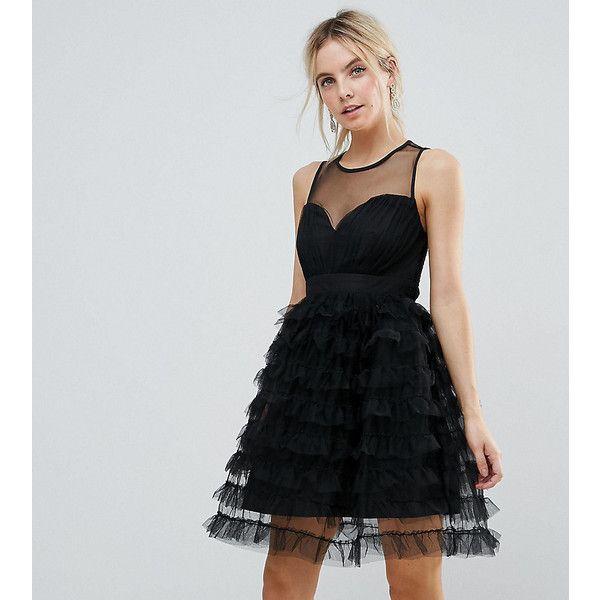 Little Mistress Petite Tiered Tulle Mini Dress (129 AUD) ❤ liked on Polyvore featuring dresses, black, petite, maxi dresses, petite dresses, petite party dresses, maxi prom dresses and maxi cocktail dresses