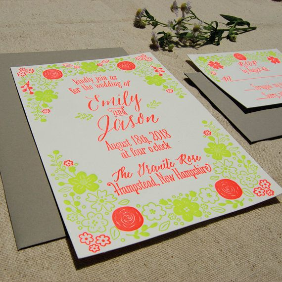 This listing is for a 4 piece sample, 1-ink color letterpress printed invitation, unprinted outer envelope, reply card and unprinted envelope.