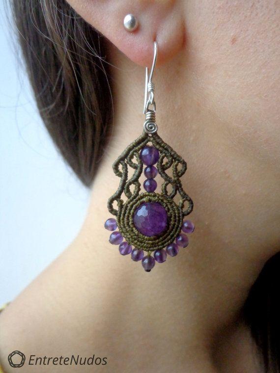 Elegant light brown macrame earrings with a por EntreteNudos