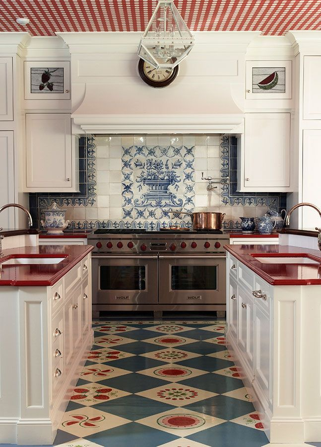 Colorful Connecticut Kitchen - with red countertops and gingham ceiling - designed by Anthony Barrata